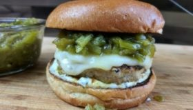 Grilled Chicken Burger with Green Chili Relish Recipe
